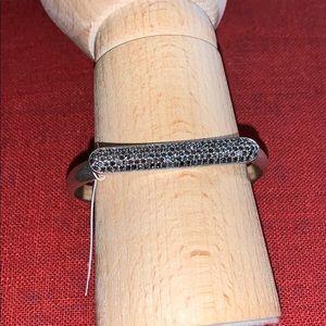 Lucky Brand Silver-Tone Pavé Bar Bangle Bracelet